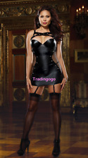 Sexy Women Shiny Lingerie PVC Leather Mini Dress Clubwear Female+Stockings Sets