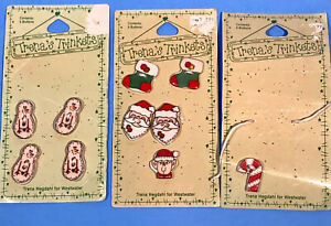 "TRENA'S TRINKETS S/6 CERAMIC BUTTONS "" Snowman"" THB-33 & THB-30 XMAS Stith (10)"