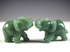 2PC 2 inch Green Aventurine Jade Stone Craving Lucky elephant Feng Shui statue