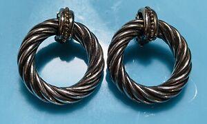 Beautiful TORC-ALS Italy 925 Sterling Silver 18k Gold Door Knocker Earrings
