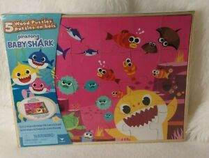 Baby Shark 5 Wood Puzzles & Tray with Wooden Storage Box Ages 3+ New & SEALED