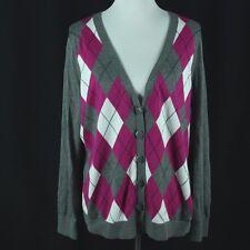 Tommy Hilfiger Womens Size 2XL Cardigan Sweater Gray Pink Argyle Pima Cotton