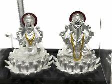 Ganesh & Lakshmi / Laxmi Pure Silver (999) Idol / Statue / Murti (Figurine# 02)