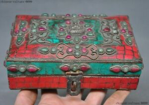 Tibet bronze Inlay turquoise Red Coral gem 4 arms Buddha statue vessel box Boxes
