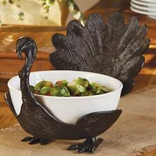 Mud Pie Give Thanks Thanksgiving Turkey Serving Bowl Cast Iron Stand