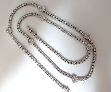 18.50ct Diamonds Cluster Necklace Station Yard Long 24 inch 14kt.
