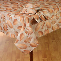 """Shimmery Bronze Fall Leaves Thanksgiving & Fall Decor Tablecloth 70"""" Round"""