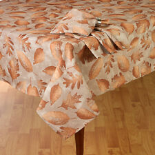 """Thanksgiving & Fall Decor Tablecloth Shimmery Bronze Fall Leaves 60""""x 84"""" Oval"""