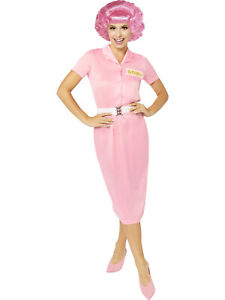 Adults Pink Ladies Frenchy Fancy Dress Grease Film Costume 1950s 50s Womens Lady