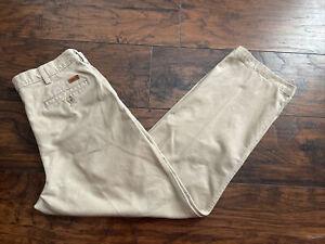 Carhartt Khaki Pleated Work Pants B132KHI Dress Mens Size 34x30 33x30