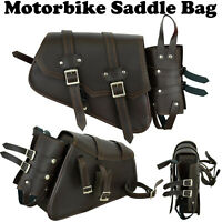 Motorbike Waterproof Pure Leather Saddle Bag Motorcycle Luggage Pannier Bag UK