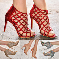 Ladies Caged Gladiator Sandals Metallic Party Glitter Heels Prom Bridesmaid Shoe