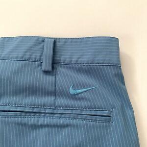 Nike Golf Mens Shorts Sz 34 FitDry Blue W/ White Stripes Golf Casual Walking