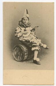 c 1903 French PIERROT CLOWN Kid w/ Mandolin early undivided back postcard