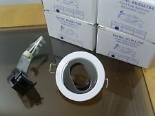 Lot of 4, Aurora 12V MR11 Die-Cast Adjustable White/Chrome Baffle Downlight.