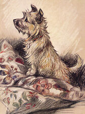 CAIRN TERRIER CHARMING DOG GREETINGS NOTE CARD CUTE DOG SITS ON CUSHION