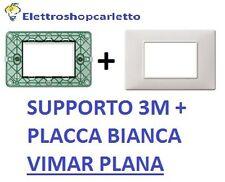 SUPPORTO E PLACCA BIANCA 3 MODULI VIMAR PLANA 14613 E 14653.01