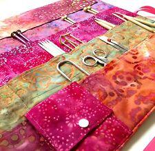 Large Knitting Needle Case/Organizer With Pocket in Beautiful Batik Fabrics