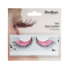 Stargazer False eye lashes eyelashes pink and black feathers