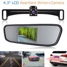 "4.3"" LCD Mirror Monitor +Wireless Car Rear View Backup Reverse Camera System Kit"
