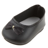 "Black Slip-on Shoes with Bow Accessories for 18"" American Doll Journey Doll"