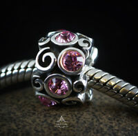Genuine SOLID 925 Sterling Silver charm bead Pink CZ fits European bracelets AUM