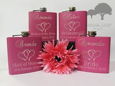 Personalised Engraved 6oz Pink Hip Flask. for bride favours etc gift Box phf17
