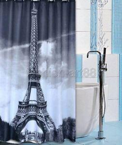 +12 Hook Grey Paris Eiffel Tower Pattern Bathroom Fabric Shower Curtain fs270