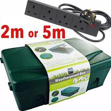 Outdoor 4 Socket 2m 5m Extension Lead Electrical Enclosure Weatherproof Box Kit