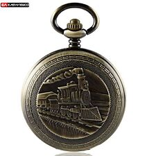 Vintage Steampunk Train Pendant Mechanical Pocket Watch Chain Retro Windup Gift