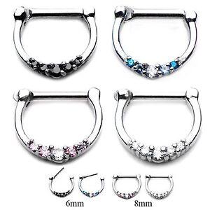 16g ~ELEGANT PRONG GEMS~ CZ Septum Daith Cartilage CLICKER Ear Hoop Ring Steel