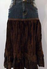 Jupe MISS O&Y T38 - Jupe en Jean bleu et velours marron (1602014)