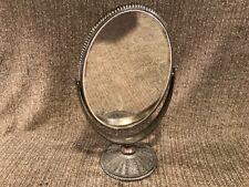 """R196 Vtg Swivel Adjustable Hand Mirror Dresser Make-up Oval Stand 12"""" Cast Metal"""