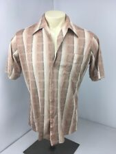 VTG 70s Joel Pink Striped Geometric Feather Button Up Collared Mens T-shirt L