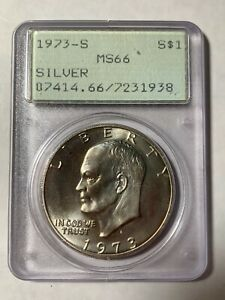 COOL BEANS U.S. COIN: 1973-S Silver MS66 PCGS Ike ONE DOLLAR COIN COBM-631