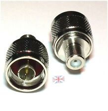 N-Type N male plug to F female jack RF coaxial adapter connector Zinc Alloy - UK