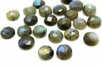 Calibrated 4mm Natural AA Labradorite Round Faceted Cabochon Loose Bulk Gemstone