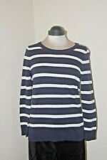 CC Country Casuals Top Sweater 100% Cotton Navy Cream Stripes Size S BNWOT