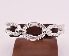 Three Row Twisted Diamond Cut Bracelet Bangle Polished Real 925 Sterling Silver