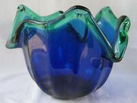 Genuine Art Glass Bowl Murano Tulip Ocean Blue Italy by White Cristal No 495