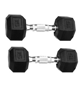 NEW WEIDER 15 LB Dumbbell Set (2) Rubber Hex Weights Pair (30LB Total)