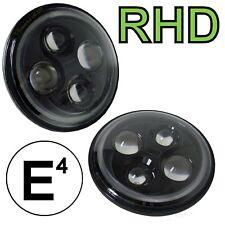 2x FULL LED NERO HEAD LIGHTS PER LAND ROVER DEFENDER RHD UK Lampada Lampadine e contrassegnati