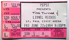 Lionel Ritchie Tina Turner St. Paul Ticket Stub June 22nd 1984