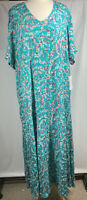 Woman Within 4 X 34/36 Rayon Crinkle Dress Long Modest Green  Floral V Neck New