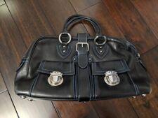 Marc Jacobs Authentic Venetia Black Bag Leather Blue Stitching Satchel