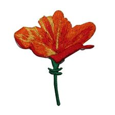 ID 6388 Orange Red Lily Flower Iron On Embroidered Patch Applique
