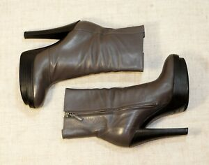 1500$ LOUIS VUITTON grey leather heel platform booties 39.5-40 us8.5-9 uk6.5-7