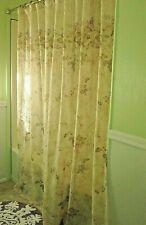 Croscill Beige Purple Floral Shower Curtain Set Includes Liner + Hooks