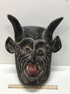 """Large Scary Antique Japanese Noh Kabuki Demon Oni Mask Hand Carved 15""""!"""