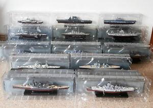 13 x Boxed Atlas Editions Warships: Hornet, Lexington, Repulse, Warspite, Eugen